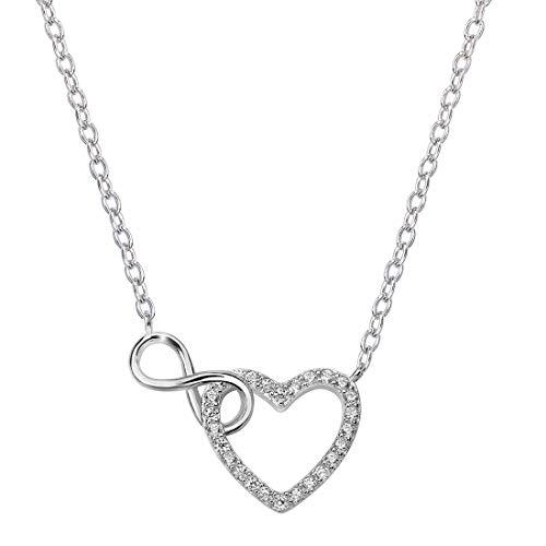 MATERIA Damen Collier Herz Unendliche Liebe Zirkonia Halskette Silber 925 längenverstellbar 41-44cm mit Box #K59
