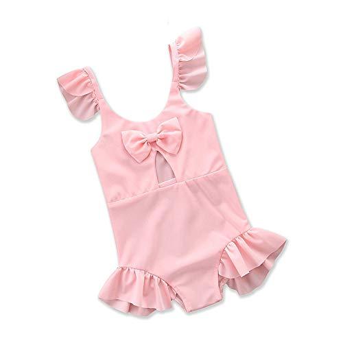 YyZCL Mädchen Kinder rosa Rüschen Einteilige Badeanzug Knoten Prinzessin Bademode niedliche Schwimmen Kostüm Badeanzug (Größe : 2T)