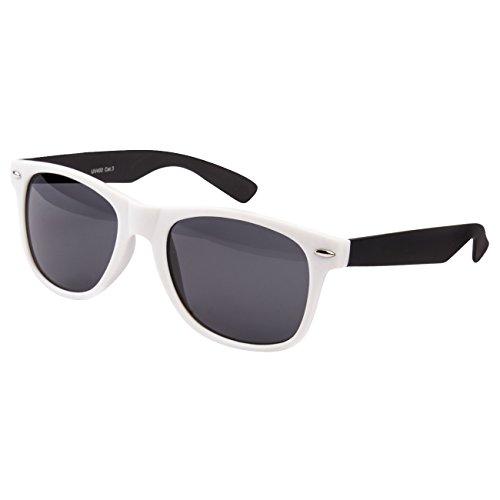 Ciffre Nerdbrille Sonnenbrille Stil Brille Pilotenbrille Vintage Look Weiß Schwarz 2 Farbig gummiert EST6