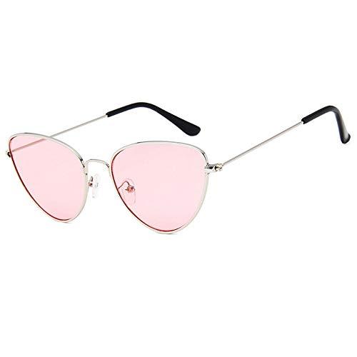 QDE Sonnenbrillen Vintage Damen Sonnenbrillen Damenmode Klar Rot Eyewear Metallrahmen Sonnenbrille Für Frau Uv400, Hellrosa