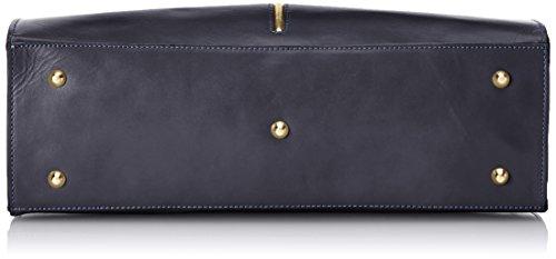 CTM Borsa da Donna Classica, 38x27x12cm, Vera pelle 100% Made in Italy Blu