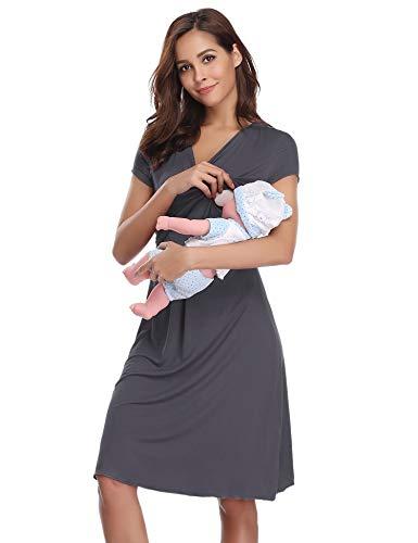 a568d4bf8 Hawiton Camisón Lactancia Pijama Embarazada Algodón Ropa para Dormir ...