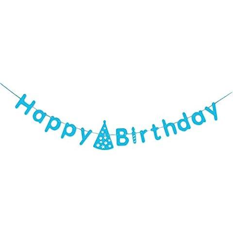 Hosaire Banner rustico in lettere di cartone di buon compleanno - Decorazioni per feste di compleanno di qualità premium(blu)