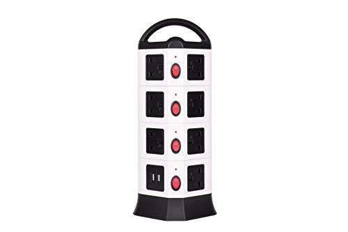Power Strip–Gxzock 14Outlet Plugs avec 4Port USB 2m Cordon Fil extension 3000W protection surtension Douille universelle station de chargement pour PC portables appareils mobiles