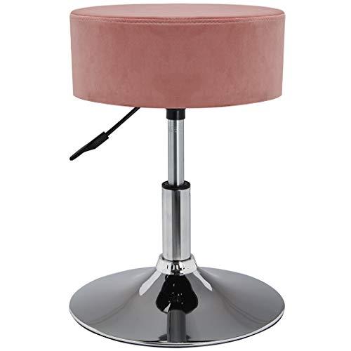 Duhome Drehhocker Sitzhocker Rosa Pink Hocker RUND höhenverstellbar drehbar aus Stoff Samt Farbauswahl 428S