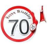Geschenktragetasche zum 70. Geburtstag - Pappetasche mit Stoffbandband ca. 30x30cm - Aufdruck Happy Birthday 70