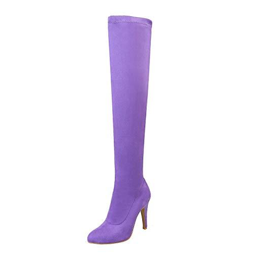 Coolulu Damen Overknee High Heels Stiefel Stretch Stiletto Slip On mit 9cm Absatz Schuhe (lila,38)