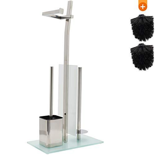 smartpeas WC-Garnitur mit Rollenhalter Chrome - Toilettenpapierhalter aus verchromtem Edelstahl - Fuß aus Glas - Maße: 32 x 20 x 70 cm - Einfache Montage - Klobürste zum Austauschen gratis!