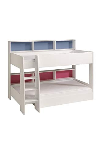 Vente-unique Lits superposés LENNY - 2x90x200cm - Etagères - Fond réversible bleu ou rose