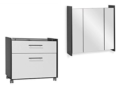 Galdem Badmöbel-Set Frosti mit Waschbeckenunterschrank Spiegelschrank Badezimmer Badschrank