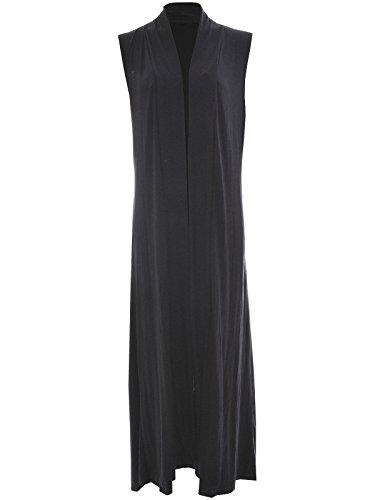 A maniche lunghe, da donna, motivo: Boyfriend-Cardigan da donna, con apertura superiore, taglie varie Black Sleeveless