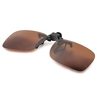 Aroncent UV400 Sonnenbrillen Vorhänger Brille Aufsatz Clip On Polarisiert, 2 Größe, Braun