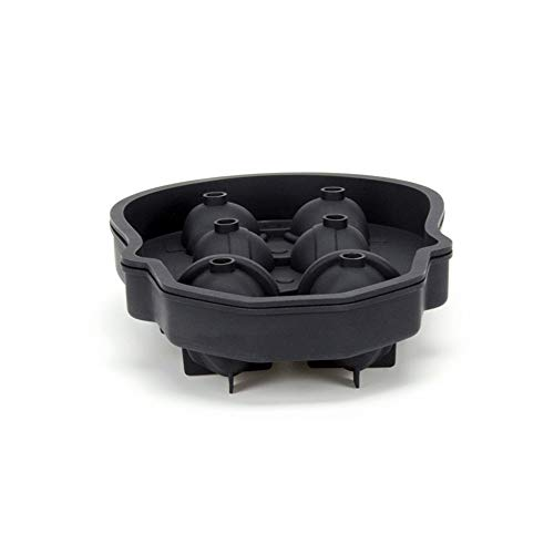 3D Skull Flexible Silikon Ice Cube Mold Tray Six Giant Skulls Large Round Ice Cube Maker Use for Whiskey Cocktail Beverage and More-Black
