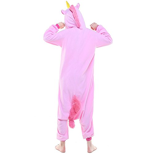 Kigurumi Pyjama Licorne Adulte Unisexe Ensemble de Pyjama Animaux Cosplay Costume Combinaison Soirée de Déguisement Rose