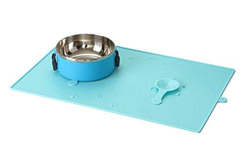 PowerLead Alfombra de alimentación de mascota, Premium FDA Grado Silicona Alfombrilla de alimentos para mascotas para perros de gato Alimentación Mat con ventosas Prevención de malestar / Messes