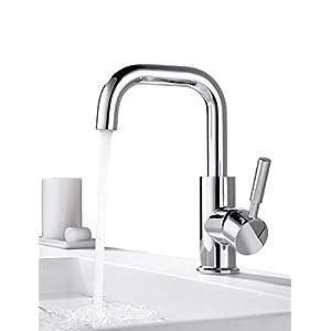 ONECE Wasserhahn Bad Armatur Waschbecken 360° drehbar Badarmatur Waschtischarmatur Einhebelmischer Chrom Waschbeckenarmatur