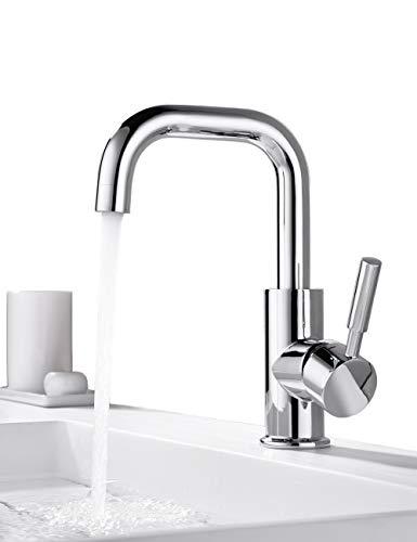 ONECE Wasserhahn Bad Armatur 360° drehbar Waschtischarmatur (Abnehmbar Luftsprudler Design) Mischbatterie Badarmatur Waschbeckenarmatur Einhebelmischer für Badezimmer