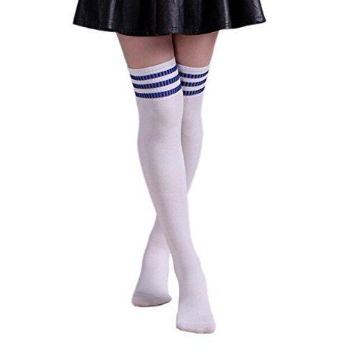 #Butterme Frau Mädchen Über den Knie Extra Lang Fußball Rugby Socks Strümpfe Sport Tights mit Klassik Dreibettzimmer Stripes Cosplay Socken (Weiß+Blau)#