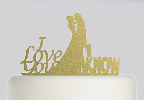 Star Wars Han Solo und Leia I Love You – Ideal Hochzeit Tortendekoration Acryl Cake Topper, Gold Sparkle Acryl (Han Solo Laser)