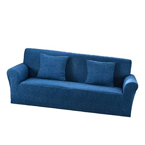 D DOLITY Elastische Stretch Sofabezüge Sofahusse Couch Sofa Husse für 2er-/3er Sofa, Farbwahl - Blau - 3 Sitzer