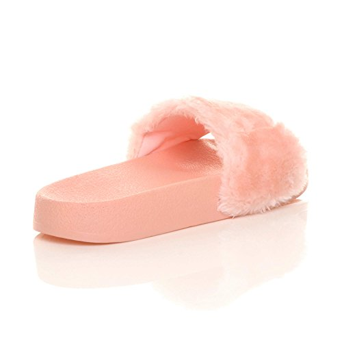 Femmes plat fourrure tongs sandales mules claquettes chaussons pantoufles pointure Rose