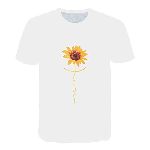 REALIKE Herren T-Shirts Kurzarm Creative Sonnenblume/Ananas 3D Drucken Mit O-Ausschnitt Tops Sommer Männer Slim Diverse Farben auswählbar Oberteile Lässig Strand Sport Fitness Gym Blouse -