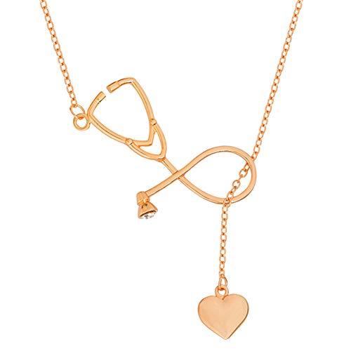 AchidistviQ-Fashion Damen Stethoskop Herz Anhänger Halskette Arzt Krankenschwester Schmuck Liebe Geschenk - Rose Golden