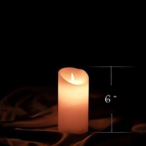 Etronic, Vela de cera auténtica con llama LED 3d Danzante, funciona a batería. Vela sin llama y antigoteo, con llama Danzante. 7,6x 15,2cm). Color color marfil. 7,6cm x 15,2cm