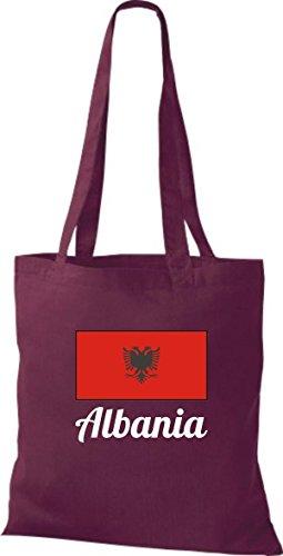 ShirtInStyle Stoffbeutel Baumwolltasche Länderjute Albania Alabanien Farbe Pink weinrot