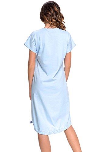 Dn-Nightwear TM.9010 Charmante Chemise De Nuit D'Allaitement Manches Courtes – Fabriqué En UE Bleu