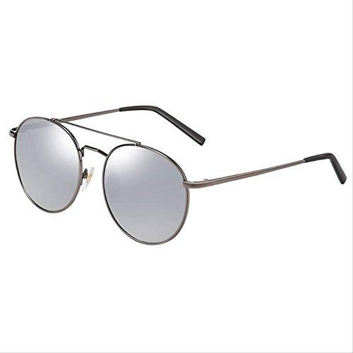 ZCFDDP Sonnenbrille Polarisierte Sonnenbrille Männer & Frauen Liebhaber Retro Classics Mode Runde Objektiv Schild Anti Uv400 Driving EyewearBeschichtung Silber
