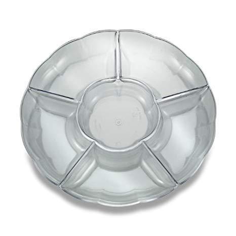 (2 Hartplastik-Teller mit 6 Fächern, Einweg, Hochglanz, wiederverwendbar und recycelbar, 30,5 cm - farblos)