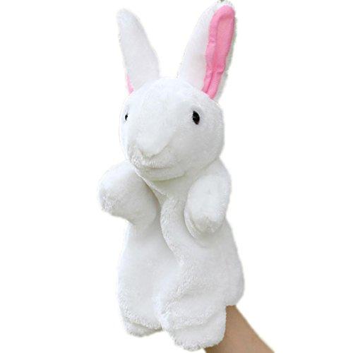 LCLrute Hohe Qualität Kaninchen Hand Cute Cartoon Tier Puppe Kinder Handschuh Handpuppe Kaninchen Plüsch Bunny Finger Spielzeug (Weiß) (Weiß Cartoon-handschuhe)
