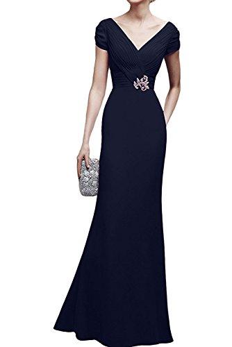 TOSKANA BRAUT Damen V-Neck Chiffon Abendkleider Lang Partykleider Kurzarm Promkleider Mutterkleider Navy