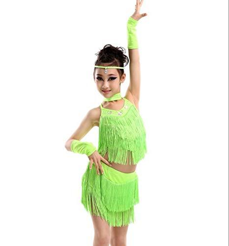 XUEF Lateinamerikanische Tanzkostüme für Kinder Tanzkostüme für Kinder Tanzende Diamant-Pailletten mit Fransen und Rock-Kostümen,Green,160CM