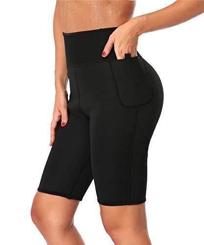 TINGSU Neopren Hosen Abnehmen zum Abnehmen Frau Heißes Thermo Sauna-Anzug Schweiß Capri Fitness Workout Körperformer Tasche