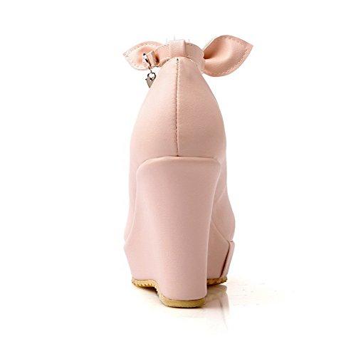 VogueZone009 Damen Schnalle Hoher Absatz Pu Leder Rein Rund Zehe Pumps Schuhe Pink