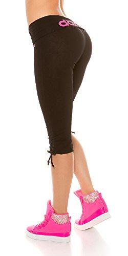 In-Stylefashion Trendy Workout Capri Hosen, in verschiedenen Farben Schwarz