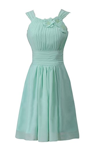 Sunvary Suess Neu Kurz Blumen Chiffon Falte 2015 Traeger Abendkleid  Cocktailkleider Mintgruen
