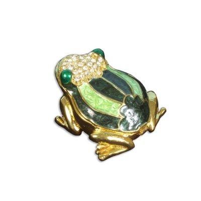 Grenouille forme Boîte à bijoux en métal avec strass