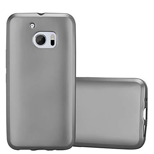 Cadorabo Hülle für HTC 10 (One M10) - Hülle in METALLIC GRAU – Handyhülle aus TPU Silikon im Matt Metallic Design - Silikonhülle Schutzhülle Ultra Slim Soft Back Cover Case Bumper