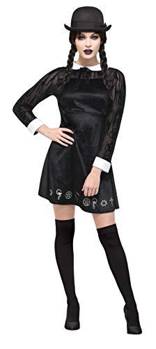 Fever Damen Deluxe Gothic Schulmädchen Kostüm, Velours Kleid mit Bemalung, Größe: 32-34, 45132