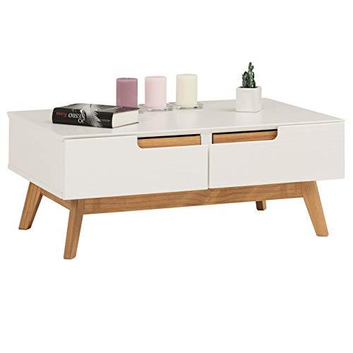IDIMEX Table Basse Tibor Style scandinave Design Vintage Nordique Table de Salon rectangulaire avec 2 tiroirs et 2 niches, en pin Massif lasuré Blanc