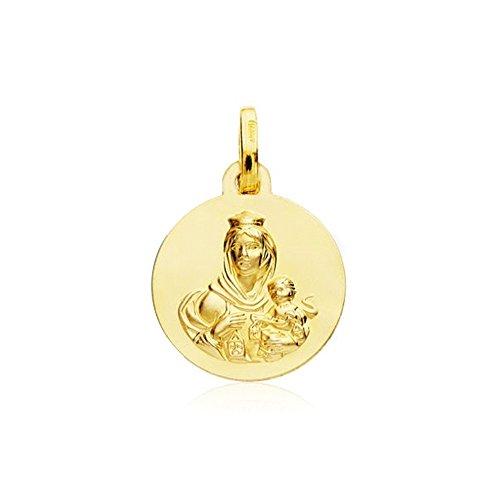 Medalla Oro 18K Escapulario Virgen Carmen Corazón Jesús 14mm [Ab4797]