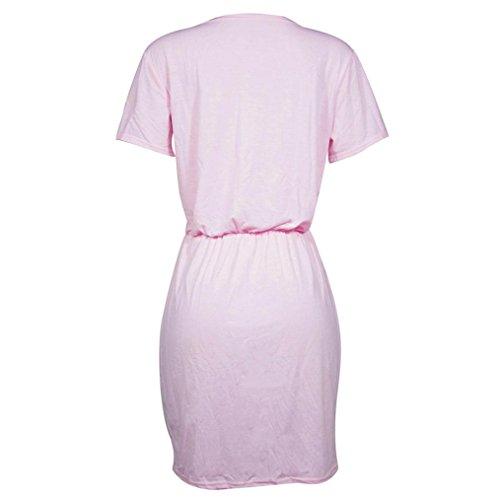 Hmeng Kleid, Womens O Neck Farben Sequins Kurzschluss Hülsen Stern druckte Minikleid Lose Kleid Rosa