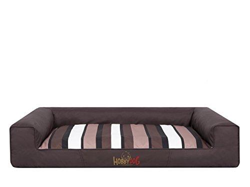 HobbyDog HUNDEBETT Victoria Größe L - 80 x 55 cm Dunkel braun mit gestreift Bett Matratze Ruheplatz Schlafplatz Hundebett Hundematratze Sofa Hundesofa (Sofa Braun Bett Dunkel)