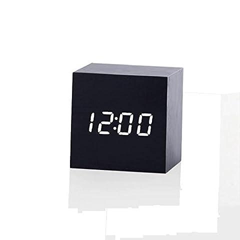 LED Alarm Clock,Wooden LED Digital Alarm Clock, Displays Time And