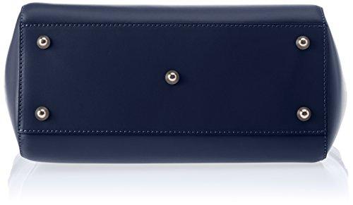 Chicca Borse Damen 8807 Schultertasche, 36x24x13 cm Blau (Blue)
