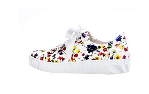 Gabor Damen Low-Top Sneaker 23.330.90, Frauen Halbschuh,Schnürschuh,Strassenschuh,Business,Freizeit,Weiss/Multicolor,39 EU / 6 UK