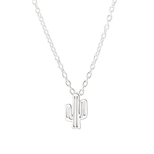 TUDUZ Damen Halskette Feigenkaktus Anhänger Kette Choker Geschenke für Muttertag Weihnachten Valentines Geburtstag Frau Freundin (Silber)